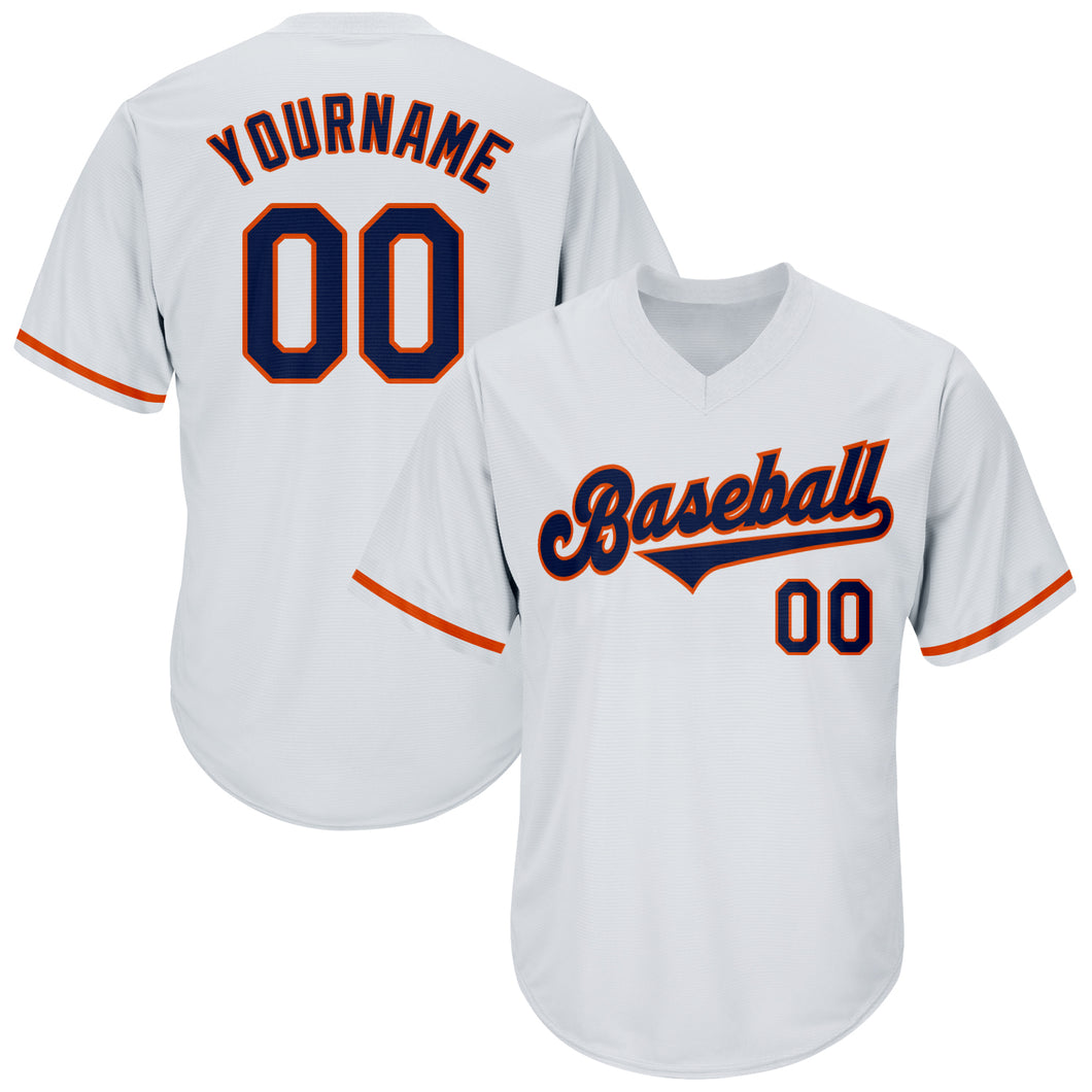 Custom White Navy-Orange Authentic Throwback Rib-Knit Baseball Jersey Shirt