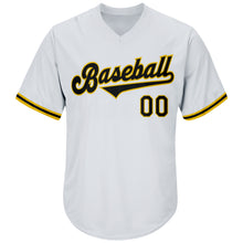 Load image into Gallery viewer, Custom White Black-Gold Authentic Throwback Rib-Knit Baseball Jersey Shirt