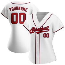Load image into Gallery viewer, Custom White Red-Navy Authentic Baseball Jersey