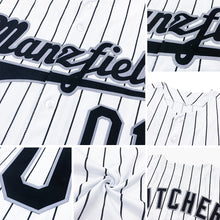 Load image into Gallery viewer, Custom White Navy Strip Navy Authentic Baseball Jersey