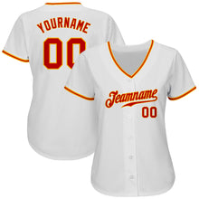 Load image into Gallery viewer, Custom White Red-Gold Authentic Baseball Jersey