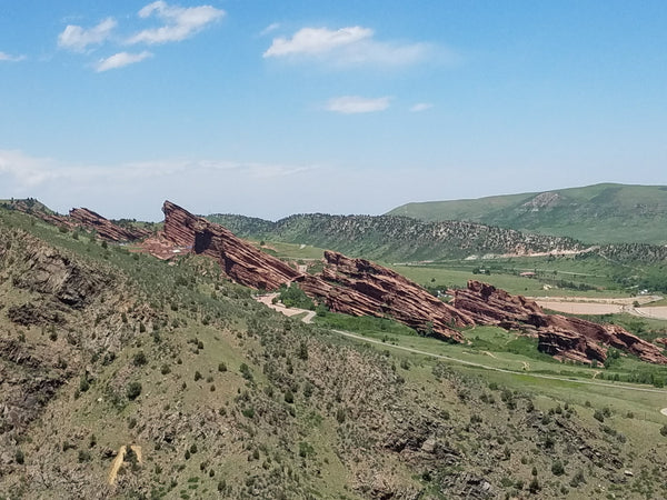 View of Red Rocks from Mount Falcon