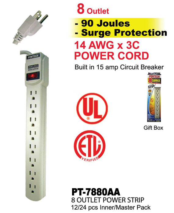 PT-7880AA - 8 Outlet UL Power Strip