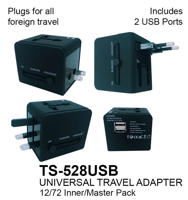 TS-528USB - Universal Travel Adapter with 2 USB Ports**