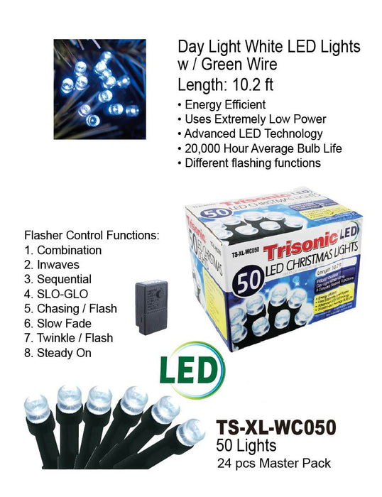 TS-XL-WC050M - White LED Christmas Lights w/ Green Wire (50 Lights)
