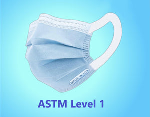 ASTM LEVEL 1 FACE MASK, BLUE, MADE IN USA