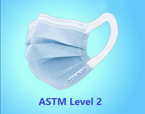ASTM LEVEL 2 FACE MASK, BLUE, MADE IN USA
