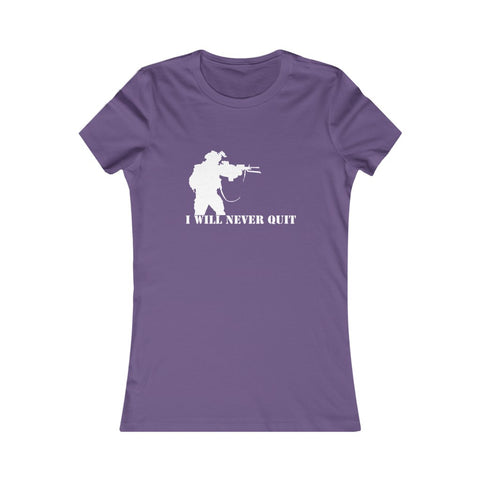 I will never quit slogan female veteran slim fit t shirt purple