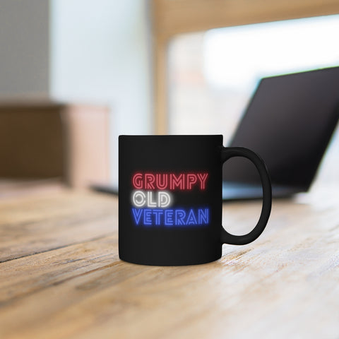 Grumpy Old Veteran (neon) Black mug 11oz