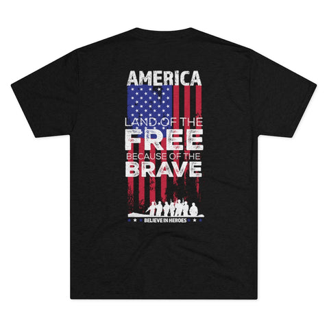 America Land of the Free Because of the Brave Men's Tri-Blend Crew Tee