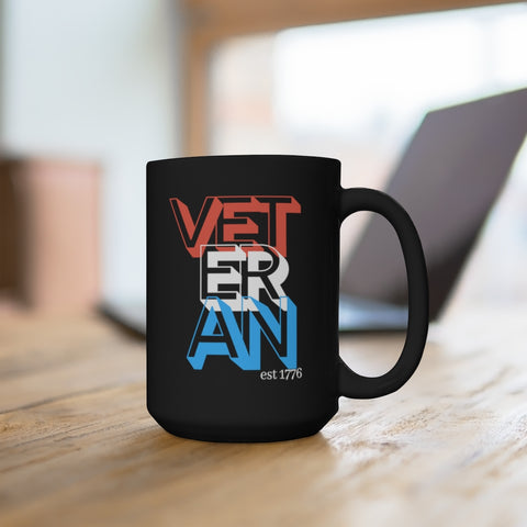 Veteran est 1776 Black Mug 15oz