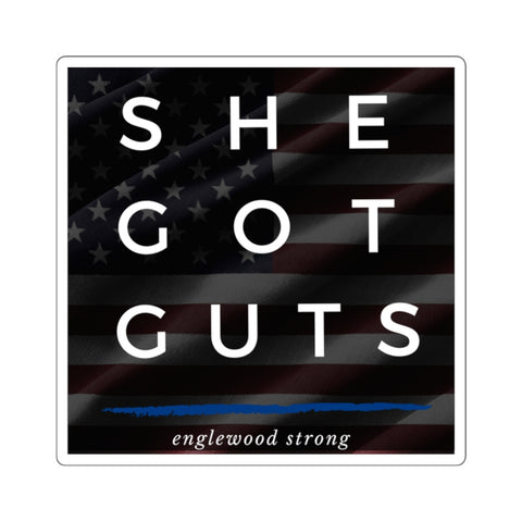 She Got Guts Englewood Strong Square Stickers