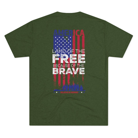 Freedom Beard USA Land of the Free Home of the Brave Men's Tri-Blend Crew Tee