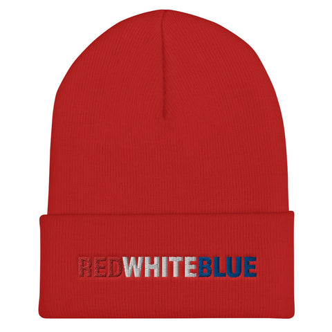 RED WHITE BLUE Cuffed Beanie