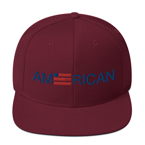 American text with flag burgundy trucker hat