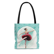 Load image into Gallery viewer, High-Quality Tote Bag With Turq Filigree Ballerina Print | Ballet Tote Bag | Dance Bag  | Tote Bag | Ballet Fan Gift - Ballet Geek