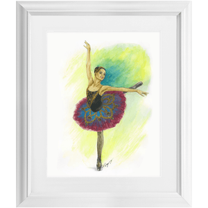 "While I Breathe, I Hope Ballerina Wall Art  | Matted & Framed 11"" By 14"" Ballet Art 