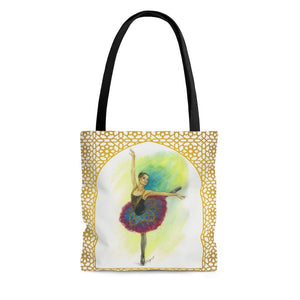 High-Quality Tote Bag  Gold Filigree Ballerina Print | Ballert Art Tote Bag | Dancer Tote Bag | Ballet Tote Bag | Tote Bag - Ballet Geek