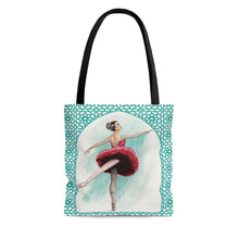 Загрузить изображение в средство просмотра галереи, High-Quality Tote Bag With Turq Filigree Ballerina Print | Ballet Tote Bag | Dance Bag  | Tote Bag | Ballet Fan Gift - Ballet Geek