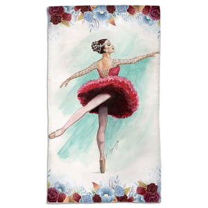 Gym /travel towel with While I breathe, I shine ballerina print
