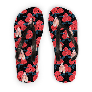 Kids flip flops with rose toe shoes print\ballet gift for kids