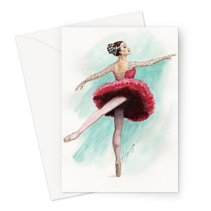 Rhinestone Ballerina Greeting Cards by 1pc / 10 pack ( Print In UK ) | Illustrated Ballerina Art Greeting Cards | Greeting Cards | Stationary | Ballet Gift - Ballet Geek