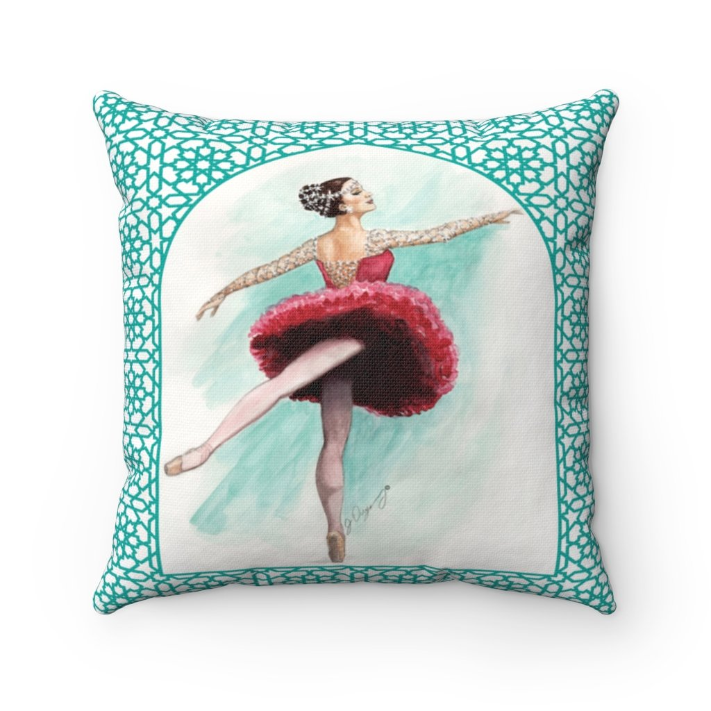 While I Breathe, I Shine Ballerina Pillow | Decorative Pillow With Ballerina Print - Ballet Geek