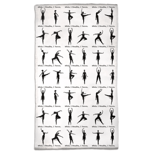 Travel Size Towel | While I Breathe, I Dance Ballet Pose Gym Towel | Ballet Class Accessory | Dance Accessory - Ballet Geek