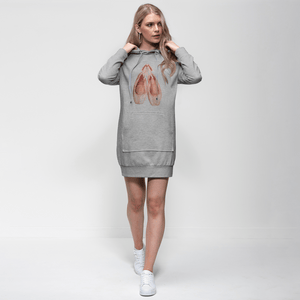 Fun Toe Shoes Print Adult Hoodie Dress | Jumper Dress | Ballet Apparel | Dance Apparel - Ballet Geek