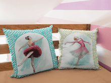 Load image into Gallery viewer, While I Breathe, I Shine Ballerina Pillow | Decorative Pillow With Ballerina Print - Ballet Geek