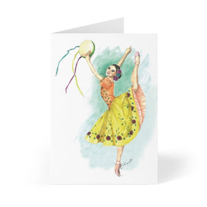 Illustrated Ballerina Greeting Cards (in-10/30/50 pcs - Print in USA) |  While I Breathe, I Dance Ballerina Greeting Cards - Ballet Geek
