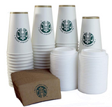 Starbucks 12oz Kit - Paper Cup, Lid and Sleeve -  Sets of(25)