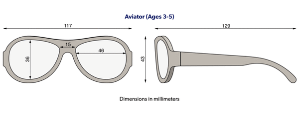 Babiators classic aviator sunglasses size diagram