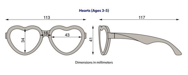 Babiators classic hearts sunglasses size diagram