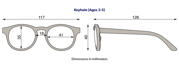 Babiators classic keyhole sunglasses size diagram