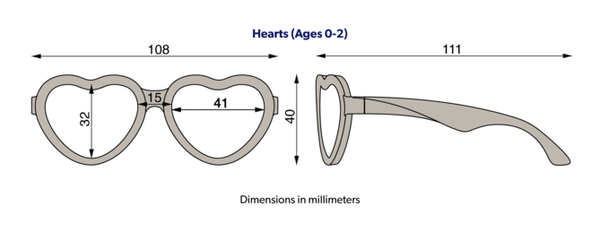 Babiators junior hearts sunglasses size diagram