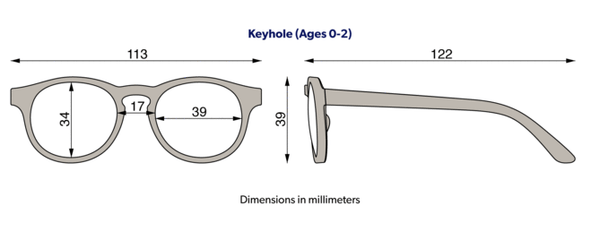 Babiators junior keyhole sunglasses size diagram