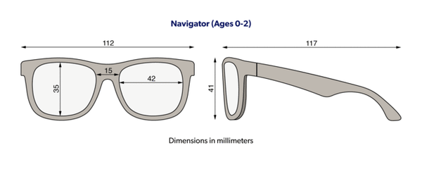 Babiators junior navigator sunglasses size diagram