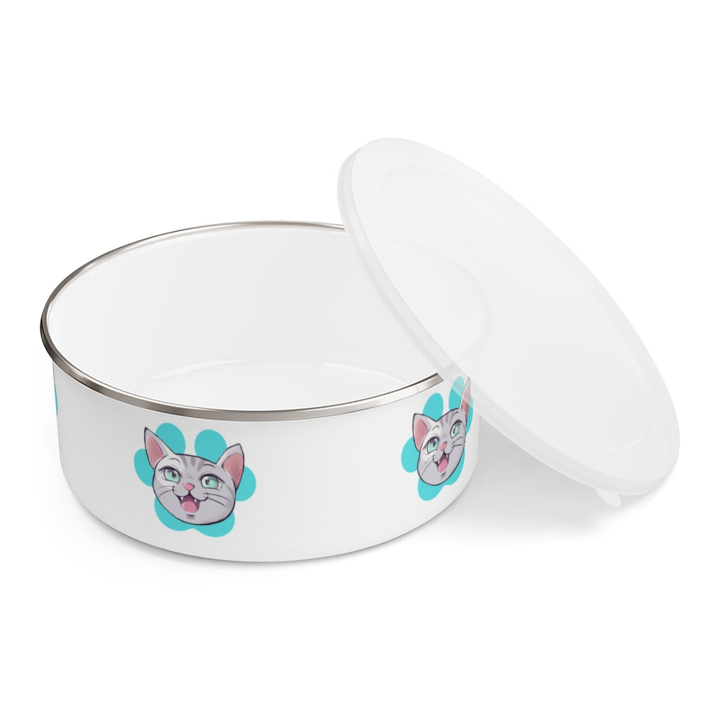 Pet Schitt Kitten Enamel Bowl With Lid | PetSchitt.com
