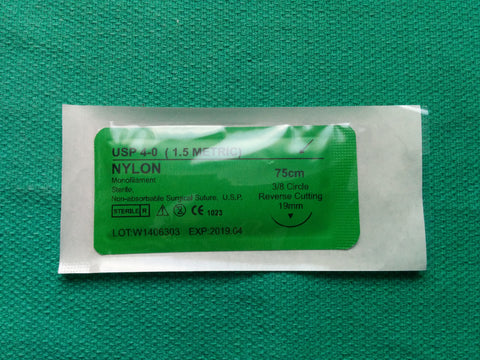 Nylon 4-0 Suture - 3/8 Reverse Cutting