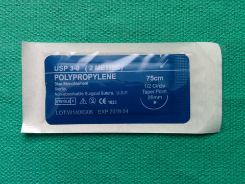 Polypropylene 3-0 Suture - 1/2 Taper Point Needle