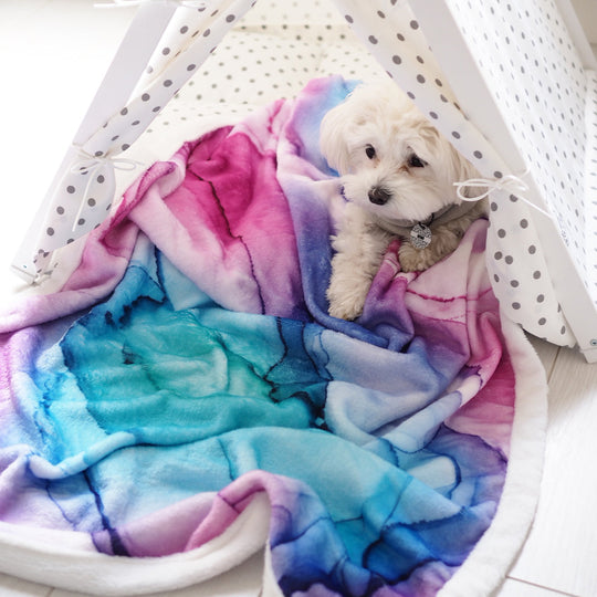 Pet Blanket - Marble Moments in Tye Die Pink