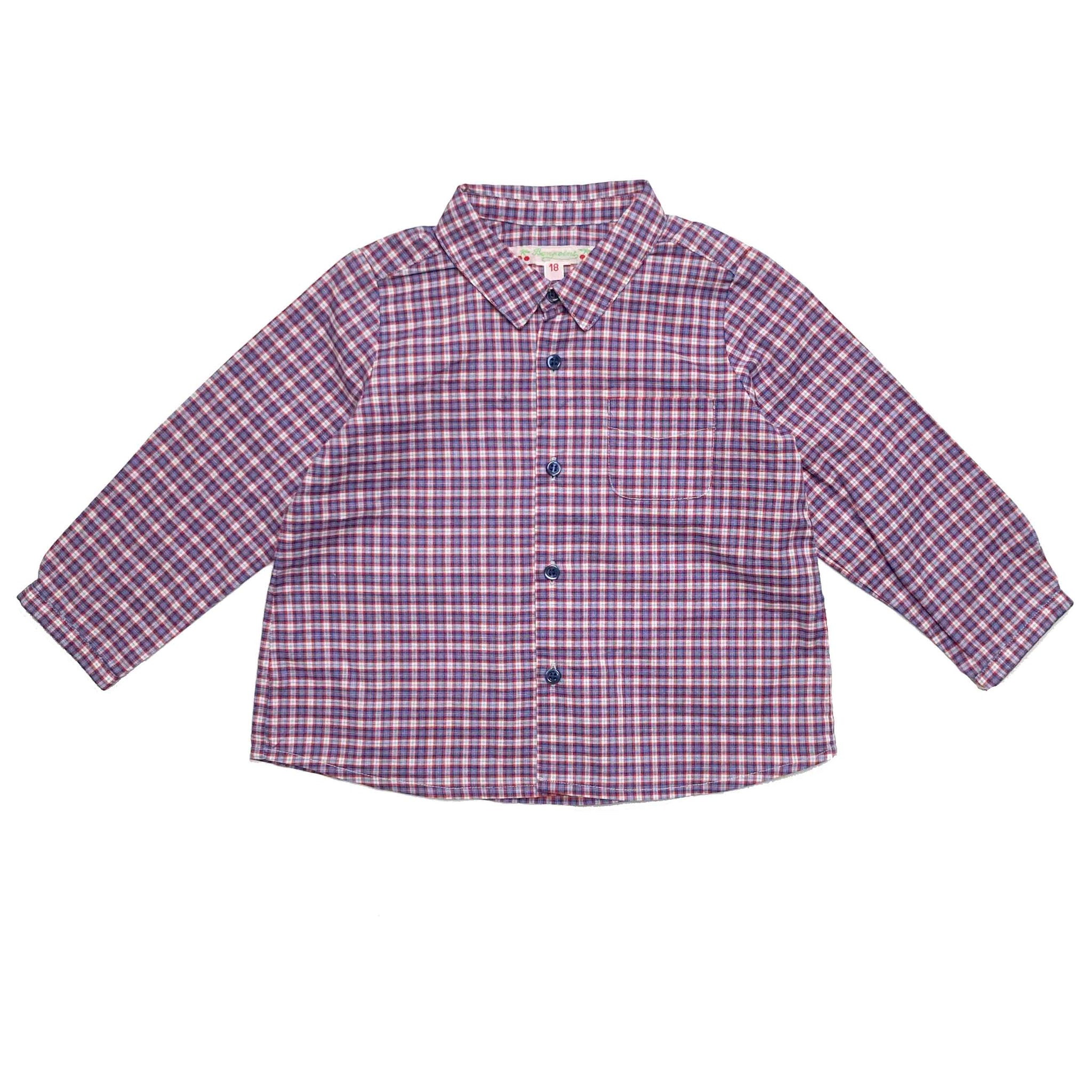 BONPOINT RED CHECK SHIRT 18 MONTHS