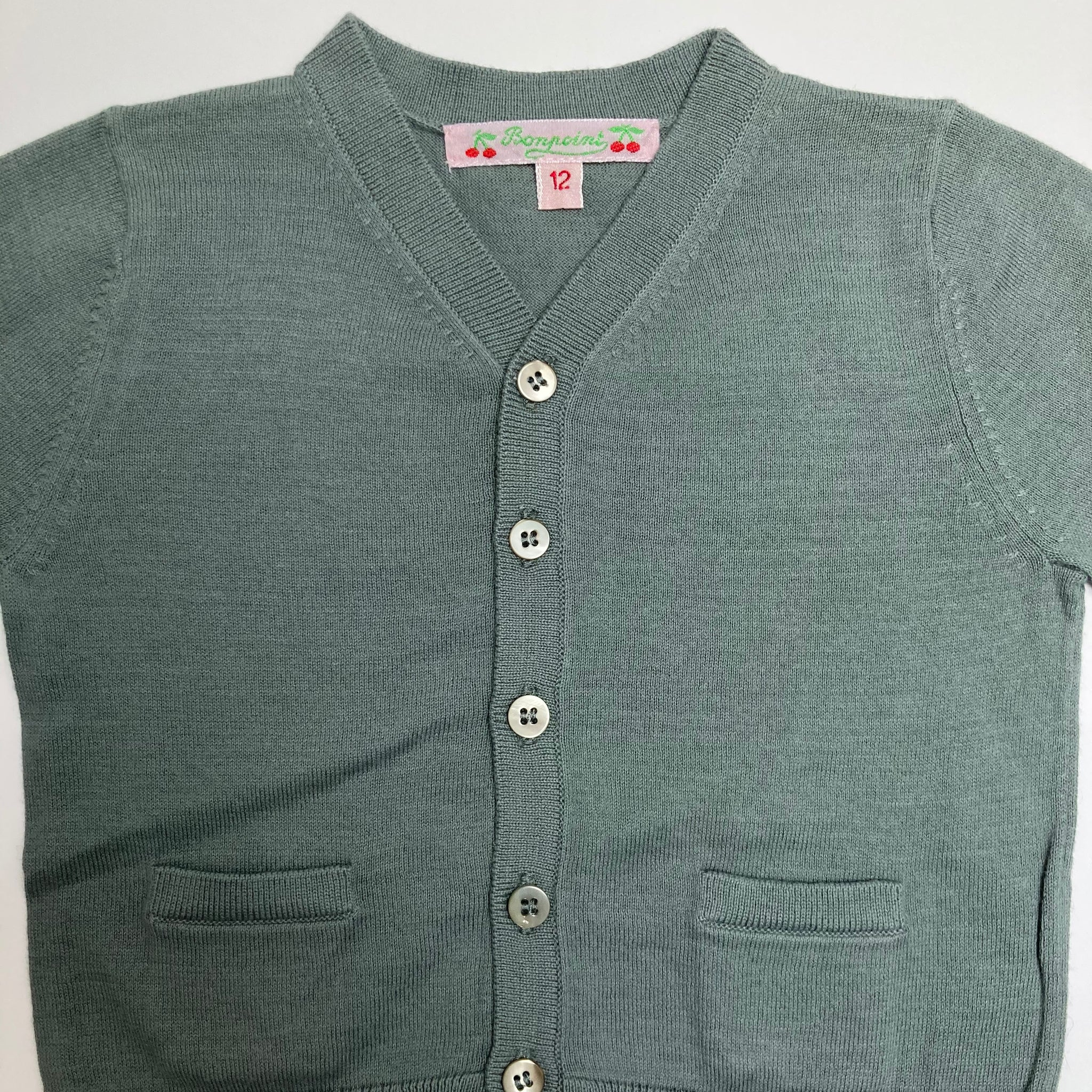 BONPOINT OLIVE CARDIGAN 12 MONTHS