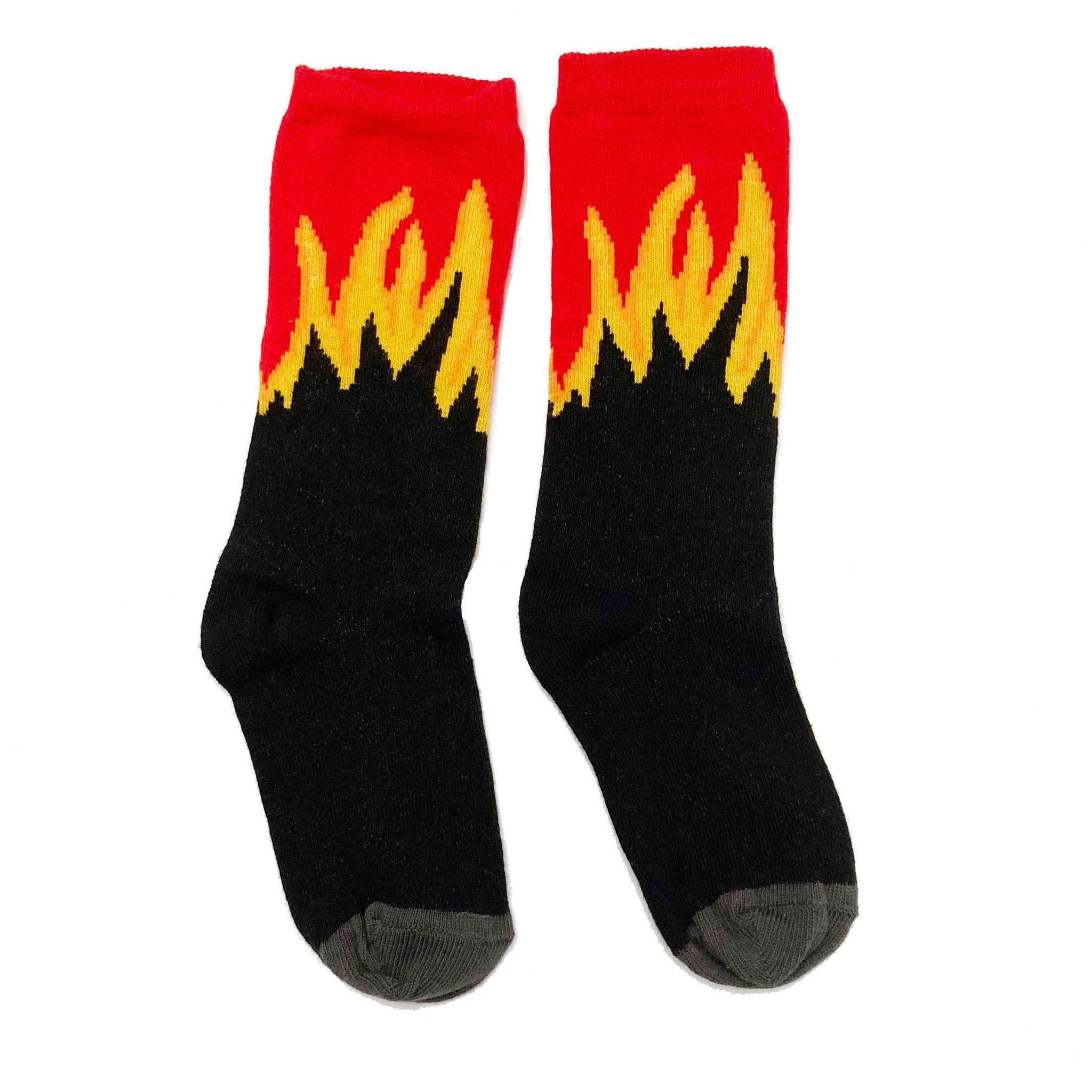 BLACK AND RED FLAME SOCKS 3-4 YEARS
