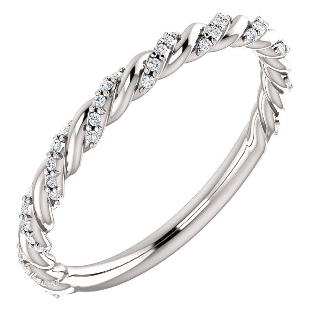 Diamond Pave Twisted Anniversary Band