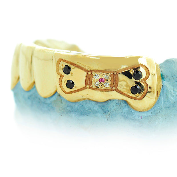 S141124-1 - Teeth in Yellow Gold With Engraved Dog Bone