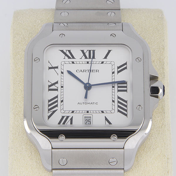 WC201130-01 - Pre-owned Cartier Santos Silvered Opaline Dial Men's Watch