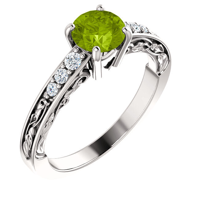 Gemstone Diamond Engagement Ring
