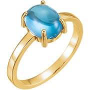 Oval Swiss Blue Topaz Cabochon Ring